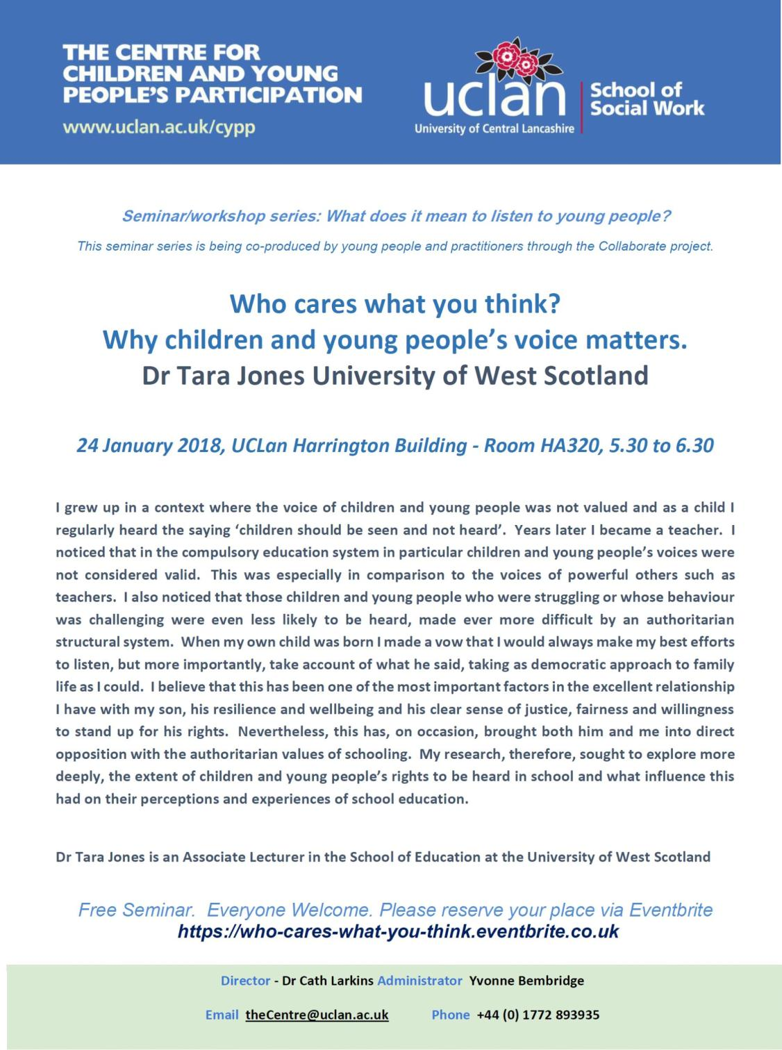 Uclan Seminar 'Who Cares What You Think'