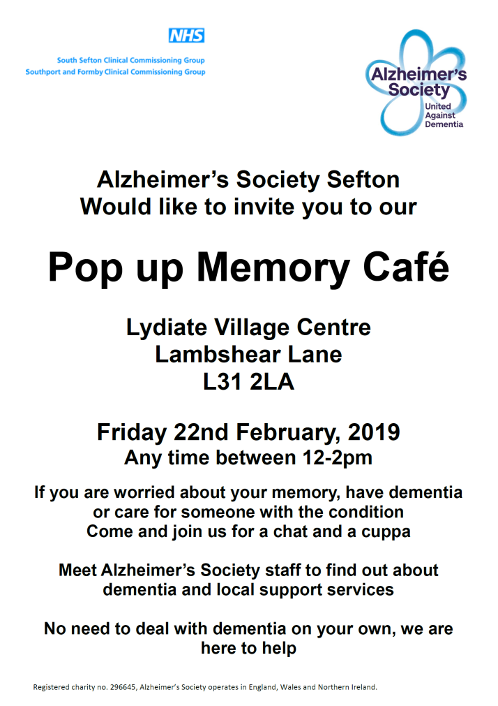 Alzheimers Society Pop Up Memory Cafe